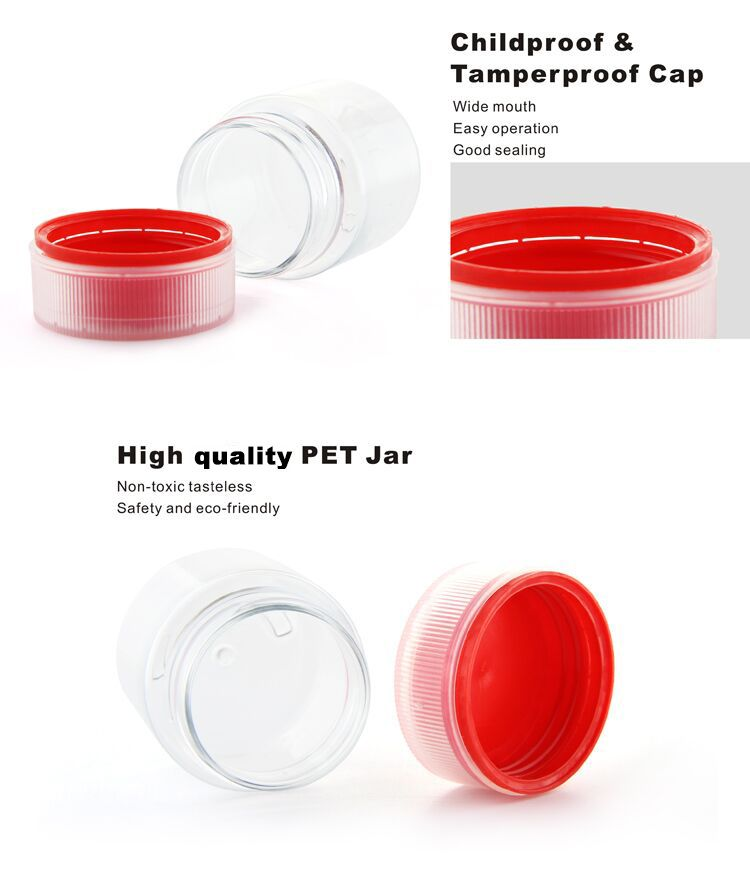 60ml 2oz round clear plastic jar with childproof and tamperproof lid