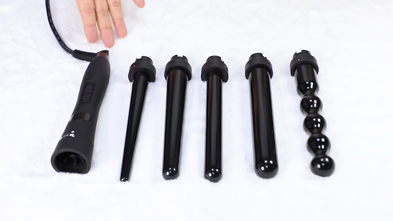 5 in 1 heat up pretty quickly Hair Curling Wand Hair Curler iron private label curling wand private label curling wand