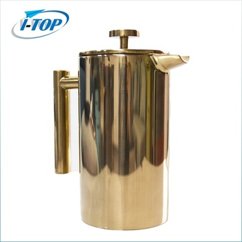 High quality stainless steel double wall copper coffee press/ french coffee plunger