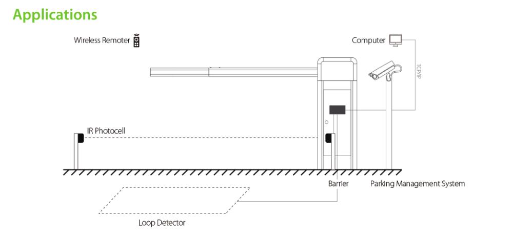 90도 체계 주차를 위한 접히는 붐 주차장 장벽 문 사용