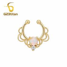 G23titan поддельные перегородки Кольца модный обруч для носа Опал Кристалл без пирсинга лошадь обувь тела ювелирные изделия(China)