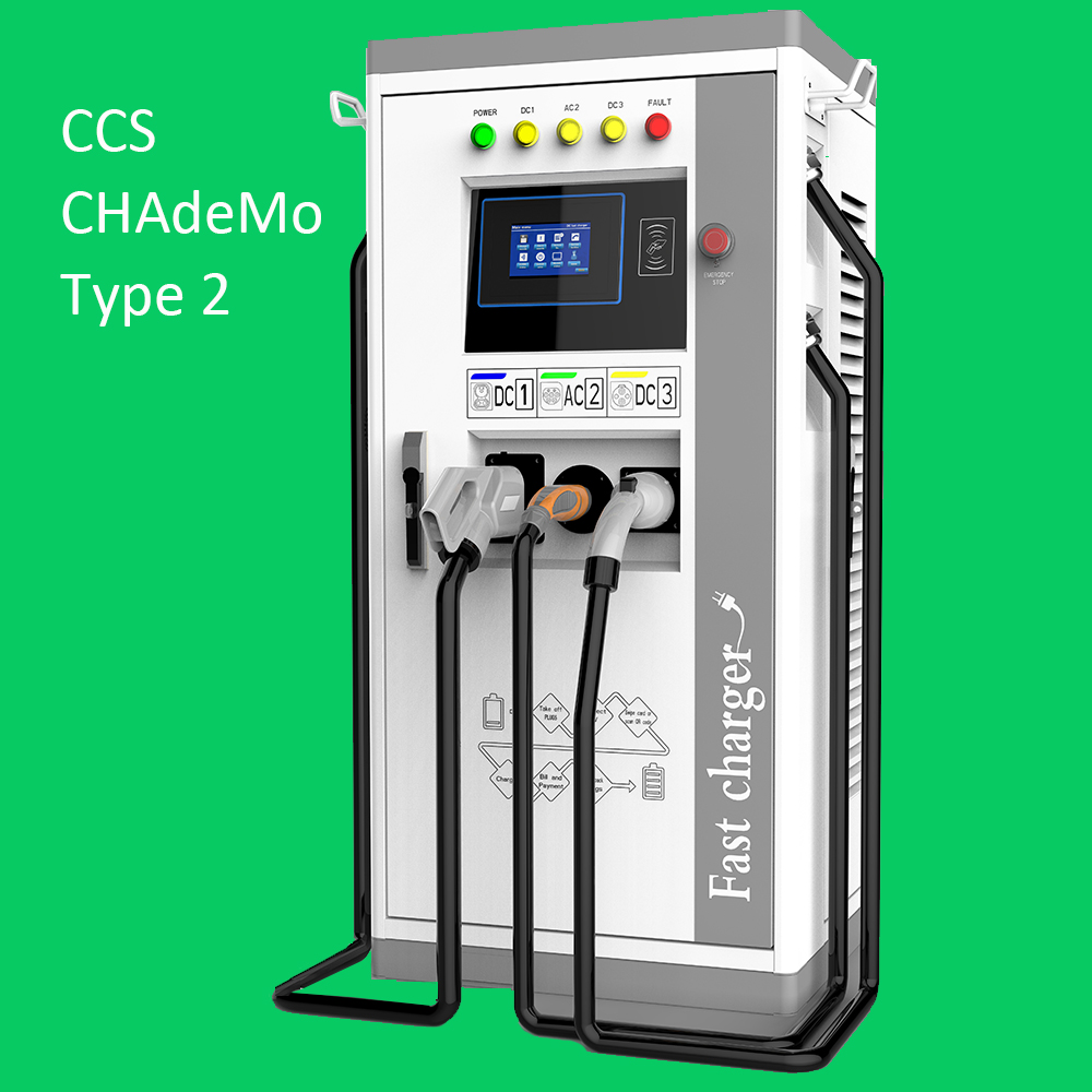 CCS & CHAdeMO Inlet 120A,500 V DC EV fast charging station 60KW