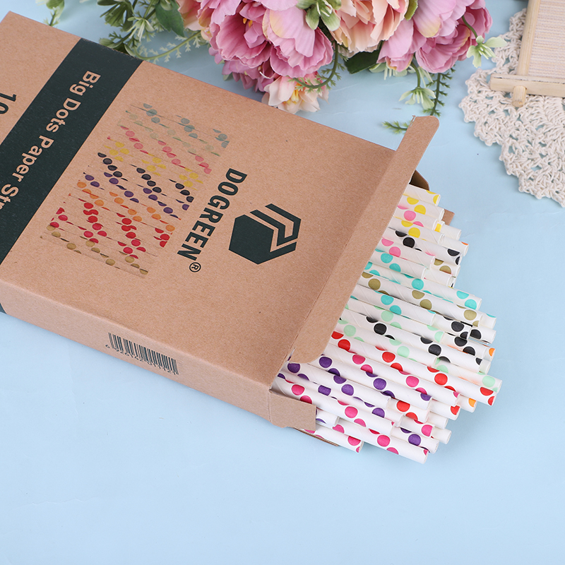 Eco Friendly 10 Colors Mixed Packaging Unbleached Fancy Colourful Paper Drinking Straws