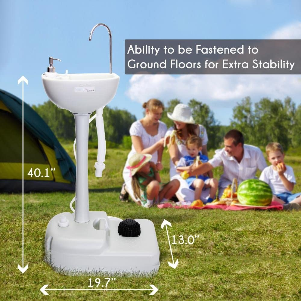 Portable Camping Sink with Towel Holder & Soap Dispenser - 19L Water Capacity Hand Wash Basin Stand w/ Rolling Wheels