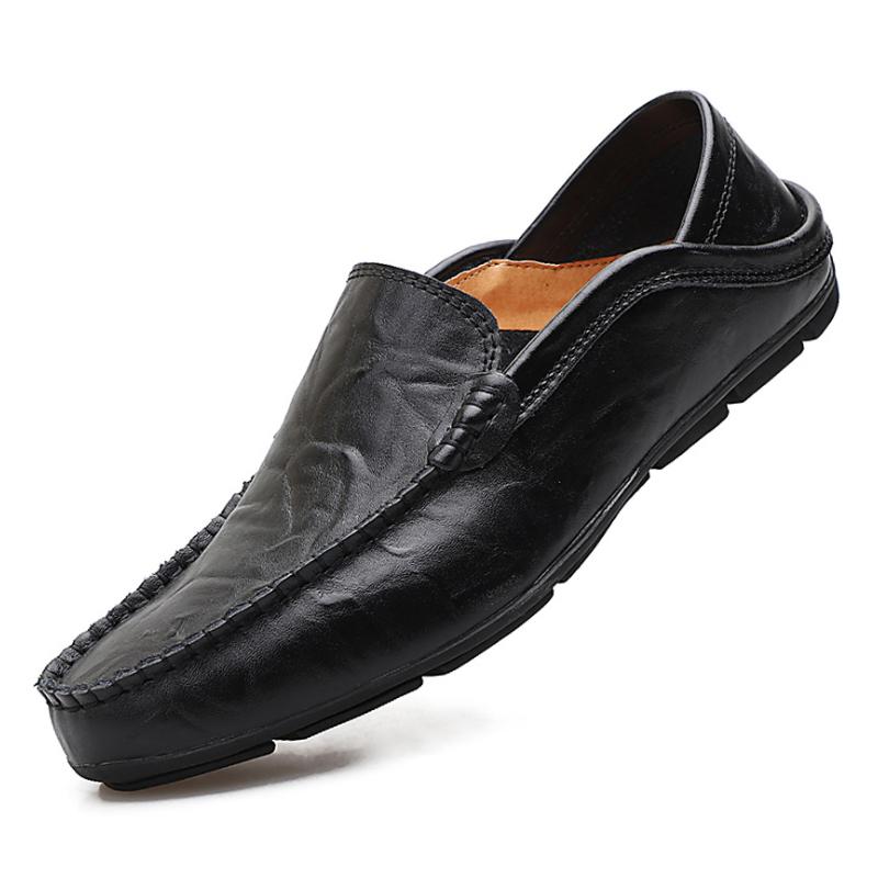 Nuevo diseño de alta calidad, plantilla transpirable de cuero de vaca genuino, suela de goma suave, zapatos casuales de cuero para hombres, mocasines