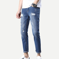 Custom mid waist casual fit mens rolled hem ripped washed denim pants