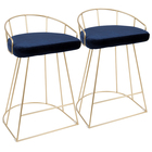 Nordic Modern Blue Velvet High Bar Furniture Gold Tone Metal Base Counter Height Stool
