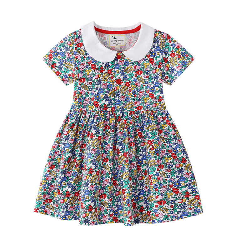 <strong>Fashion</strong> <strong>kids</strong> organic cotton children clothes Floral little girls spring dresses