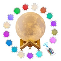 Touch Table Desk Lamp Changing Lights Led 3D Moon Night lamp with Acrylic ball & ABS Base & USB Charger