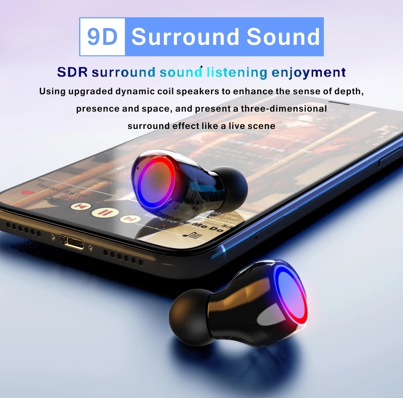 M12 TWS Bluetooth 5.0 Wireless Earbuds Touch Control 9D Surround Sound Earphones Headphones for android and ios mobile phone
