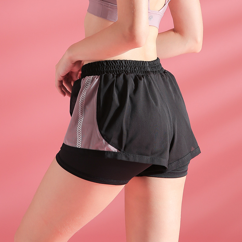 2020 New Women Mesh Two Layer Breathable Running Fitness Sports Shorts 8
