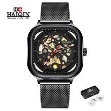 Мужские часы от топ бренда HAIQIN, новые автоматические механические часы, мужские водонепроницаемые часы с голубым сетчатым ремешком, мужски...(Китай)
