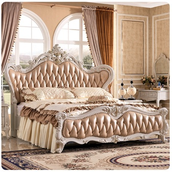 Leather Bed Luxury Royal Court Princess