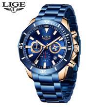 LIGE 2020 синий часы из нержавеющей стали мужские часы лучший бренд класса люкс Водонепроницаемый часы; Модный комплект из 6-Pin многофункциональ...(Китай)