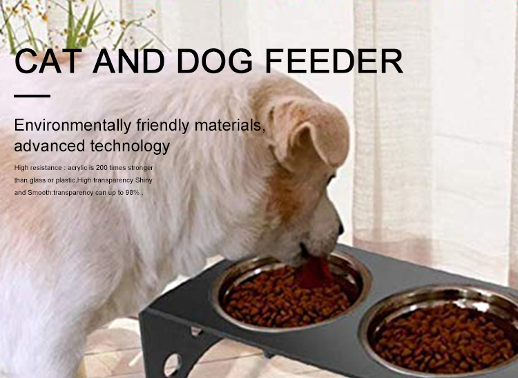 Clear Acrylic Dog Feeder Riser Stand Pet Feeder Elevated Acrylic Cat And Dog Feeder