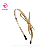 Fashion Metal Head Band With Leather Bow For Women