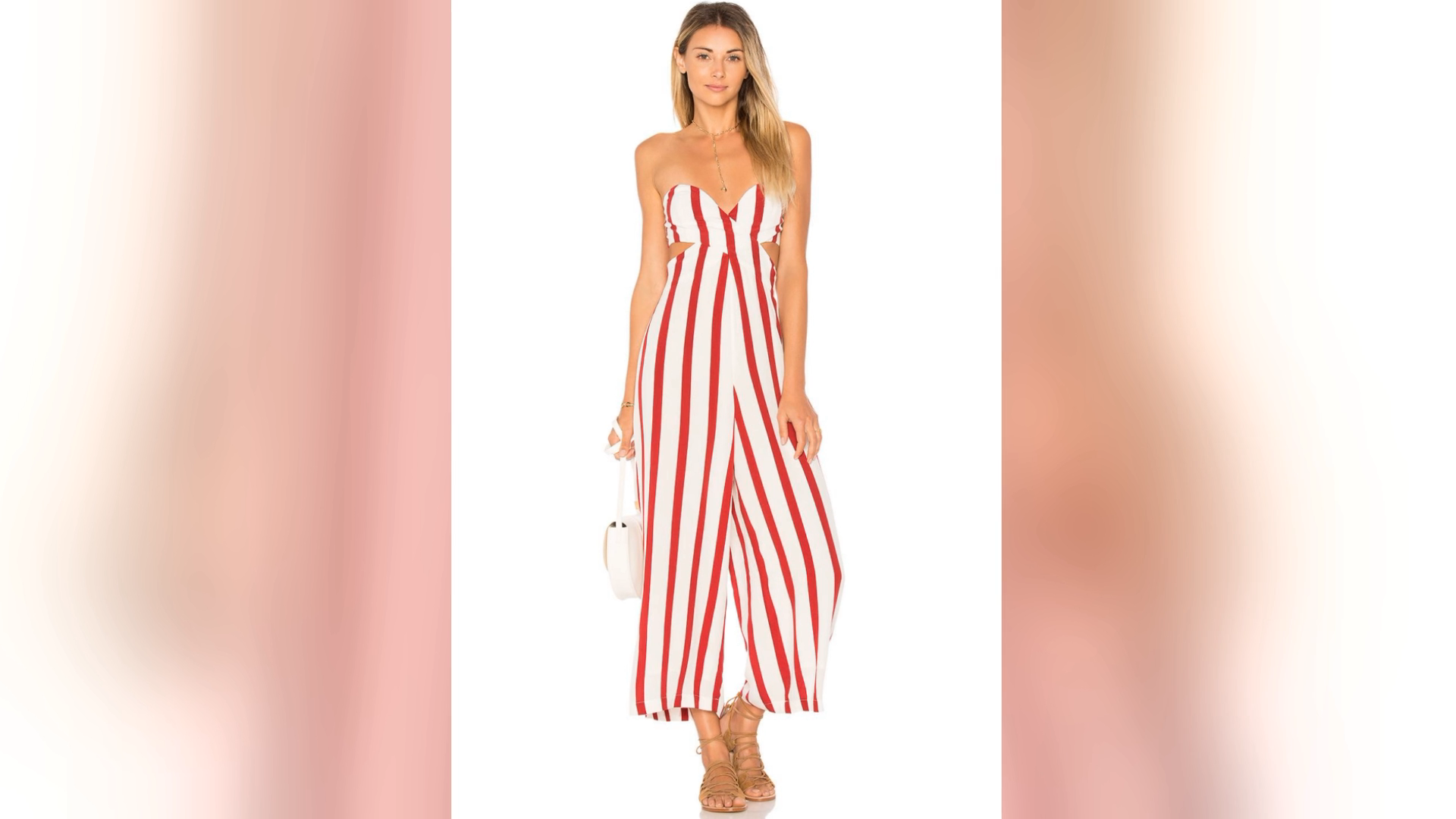 Summer Romper Striped Cut Out Sleeveless Wide Leg Women Casual Jumpsuit