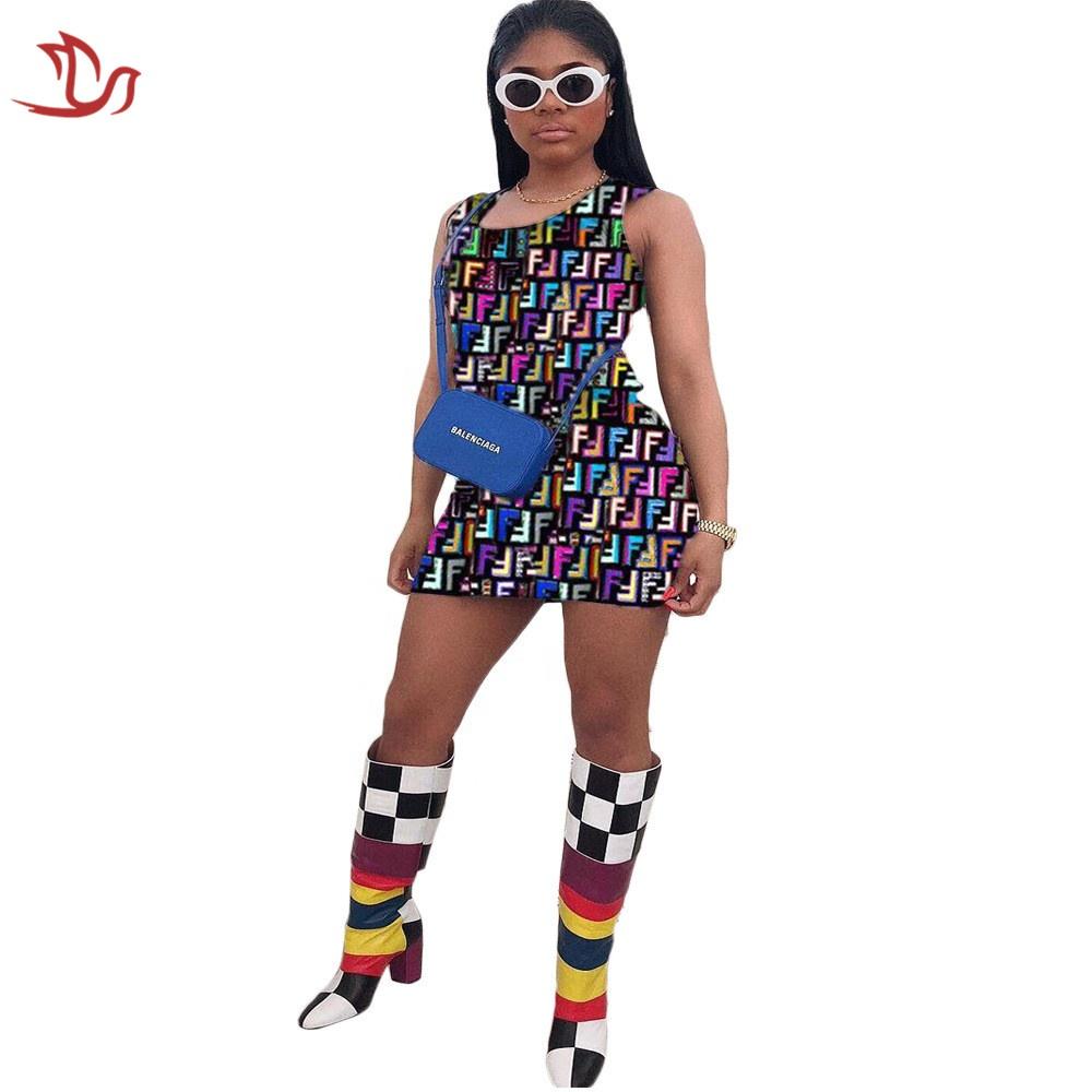 LDJX-C55 Hot Sale Summer Apparel Digital Print Sleeveless Bodycon Mini Dress for Women Clothing