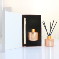 Customized Luxury 100ml 200ml Rose Gold Glass Diffuser Bottle With Paper Gift Box