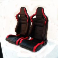 Car Racing Seat PVC Leather Double slider and Single adjustor Black And Red Race Seat for Automobile Universal 1054