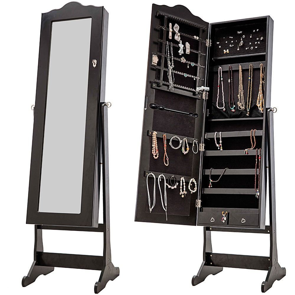 large standing mirror cabinet jewelry amoire organizer box with SGS certificate