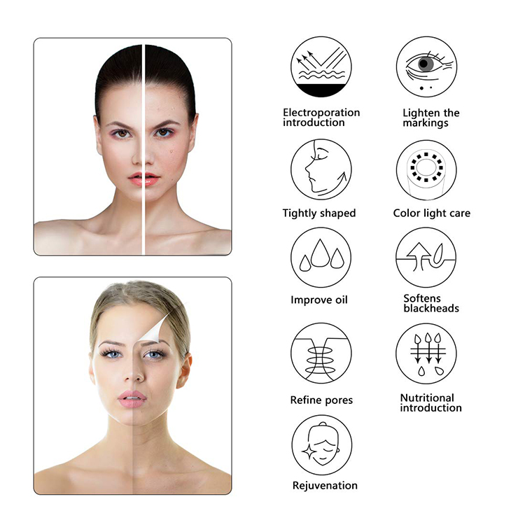 Lithium Ion Multi-Function Beauty Equipment Skin Care Portable  Vibration Ultrasonic Cleaning Machine Home Use Beauty Device