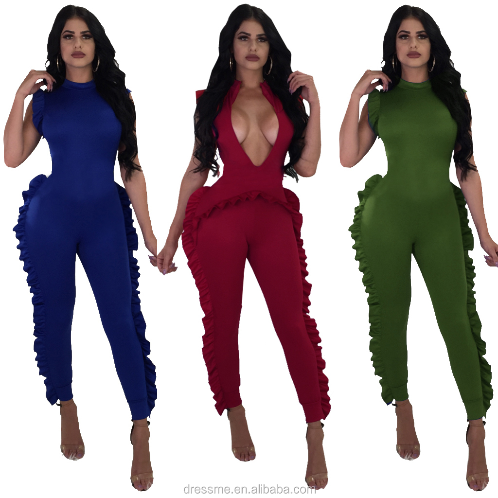 MQ3805 Summer deep V sexy Womens Jumpsuit Ruffle Sleeveless Bodycon Long Pants Elegant Jumpsuit Summer Casual Party Club Overall