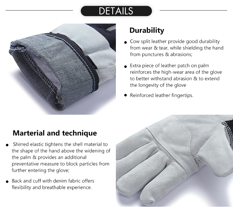 Cheap denim fabric cow split leather palm reinforcement abrasion cut resistant heavy duty safety work glove