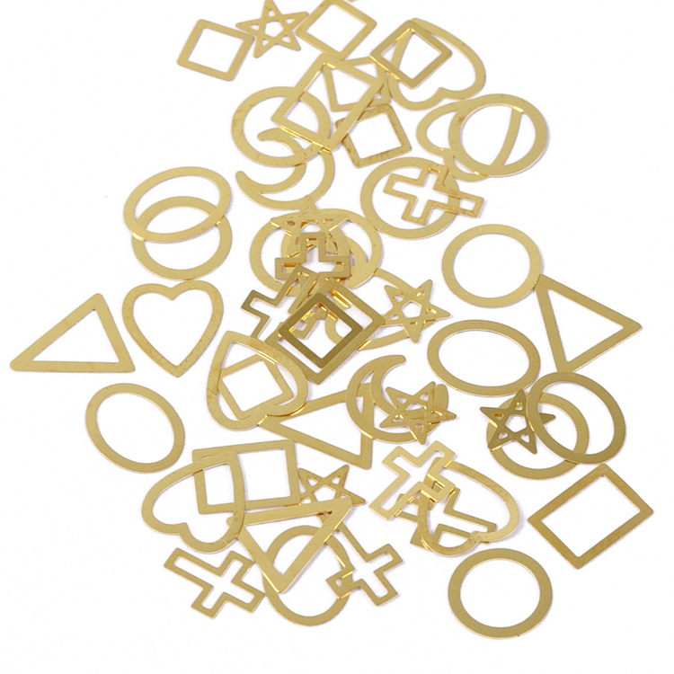 Mixed shapes gold alloy metallic DIY nail design accessories 3d nail art decoration accessories wholesale nail accessories