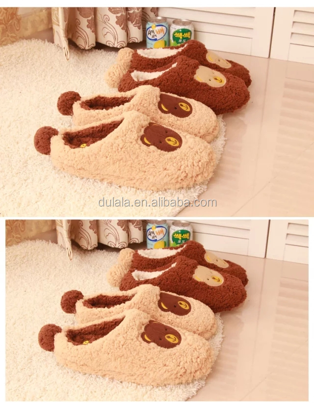 Factory manufactured 3D animal head plush bear slippers unicorn plush slippers