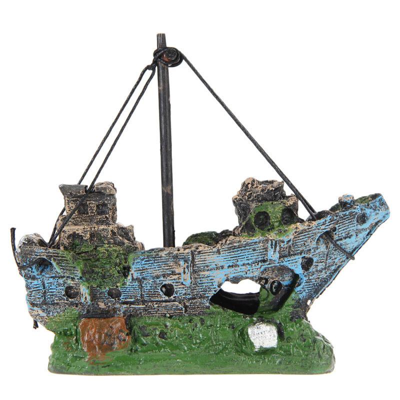Aquarium aménagement paysager boîte de reptile résine rocaille Aquarium décoration simulation rocaille bateau verre maison pieuvre frère
