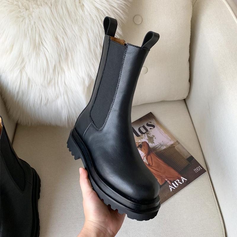 2020 Winter Platform Boots Women Chunky Heel Platform Boots Luxury Brand Designer Chelsea Boots