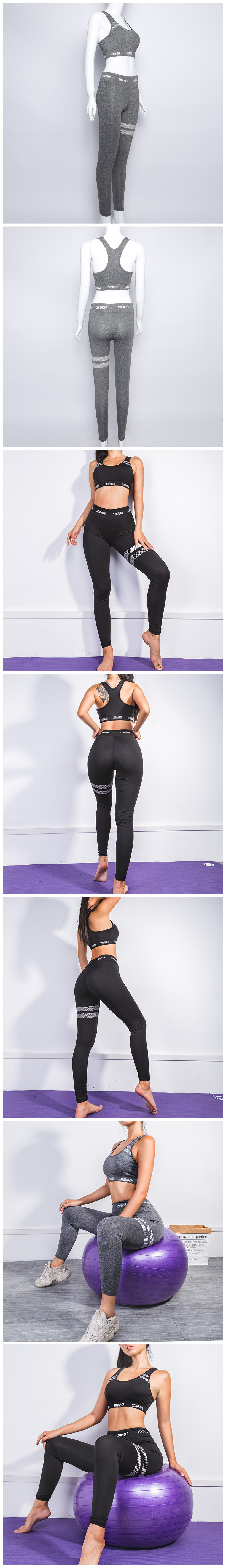 Sports Custom Workout Yoga Sets Clothes shark Fitness Yoga Leggings Seamless Gym Tights and Sports Bra Set For Women