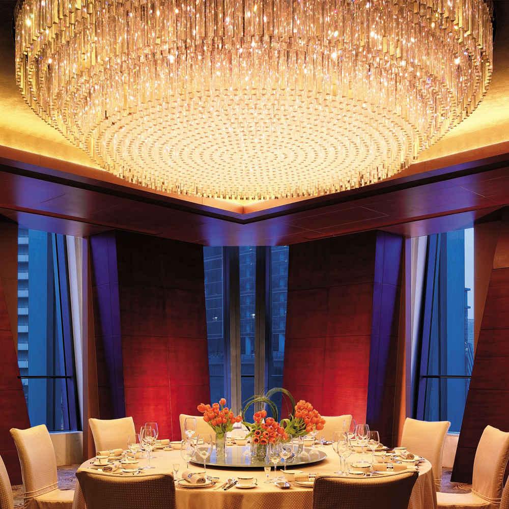 Led light crystal rod chandelier