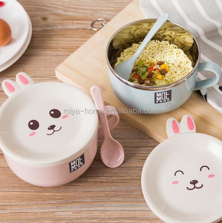 Stainless steel double-layer anti-scalding noodle bowl / cute with lid with spoon snack bowl set / multifunction tableware