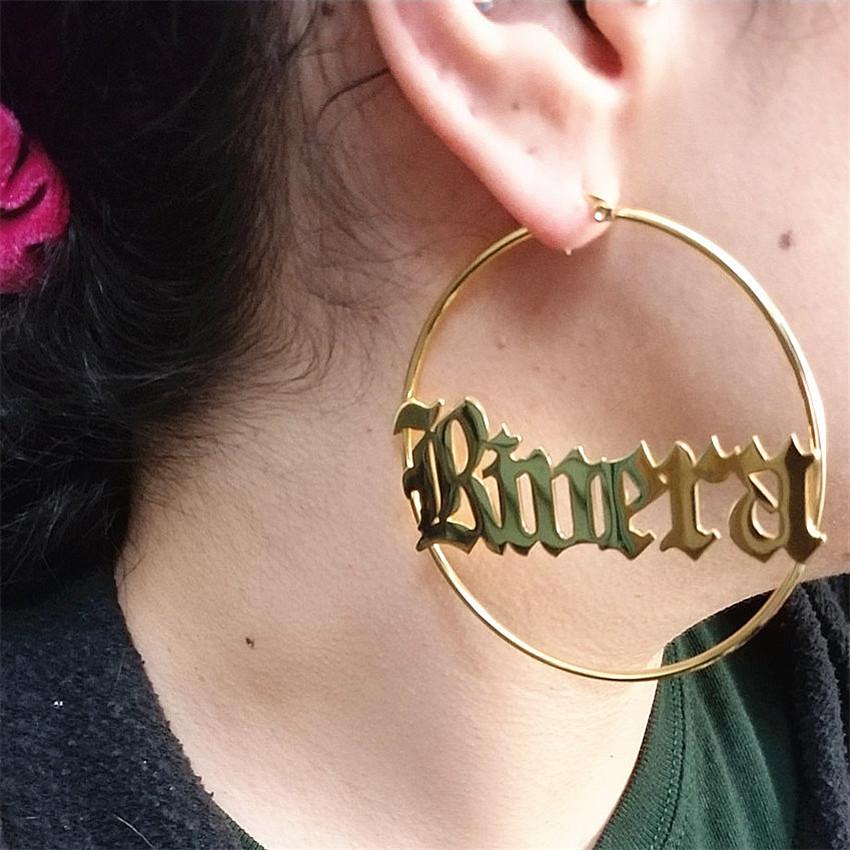 สแตนเลสสตีล Big Hoop ชื่อต่างหูเครื่องประดับต่างหูผู้หญิง