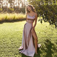 Пляжное платье для выпускного вечера, сексуальное атласное вечернее платье на тонких бретелях с открытой спиной, женское селебрити платье ...(Китай)