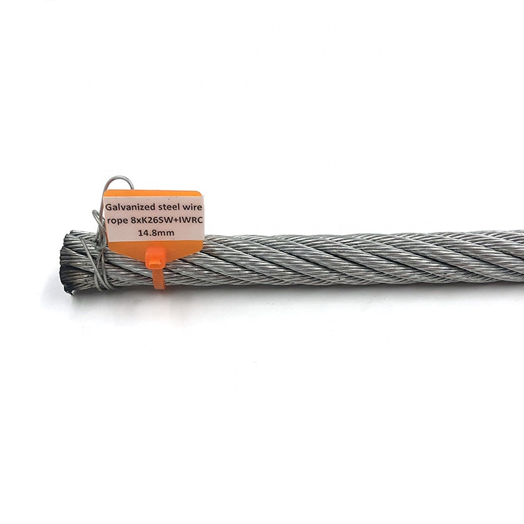8xK26SW+IWRC galvanized high carbon steel wire rope 14.8mm