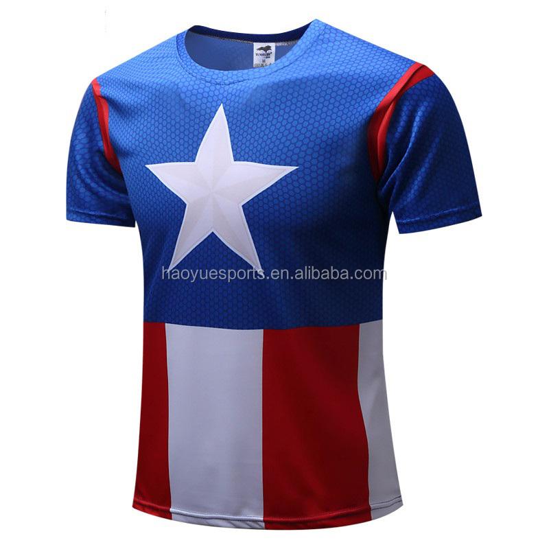 도매 맞춤 승화 티 염료 승화 마블 남자 티셔츠