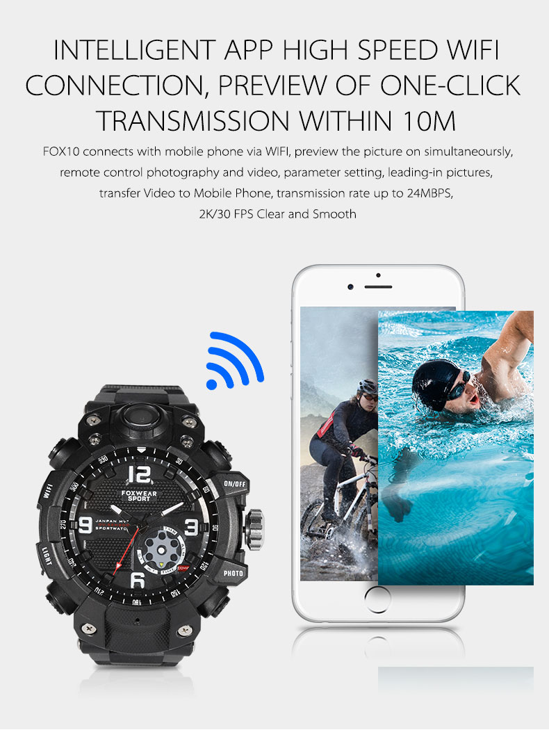 2019new 2.6K 30fps WIFI Hidden Spy Watch Camera IP67 Waterproof with LED Light Magnetically Charger Build in 32G