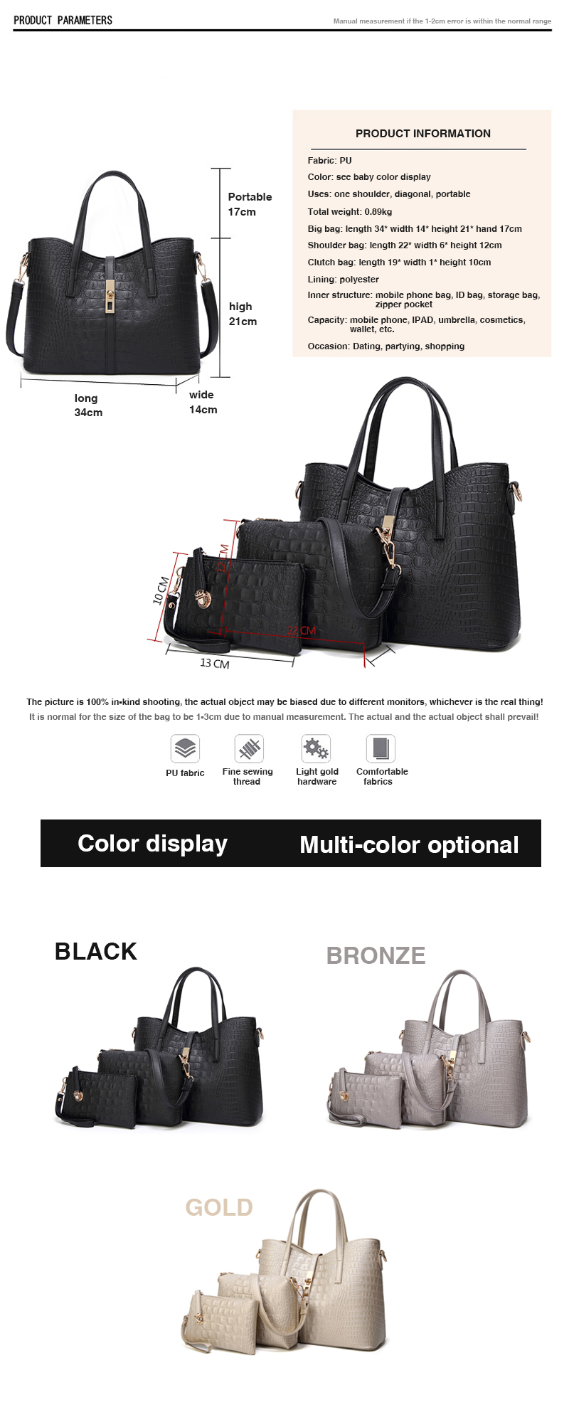 2018 high quality PU leather handbag wholesale,custom lady leather handbag women's bag