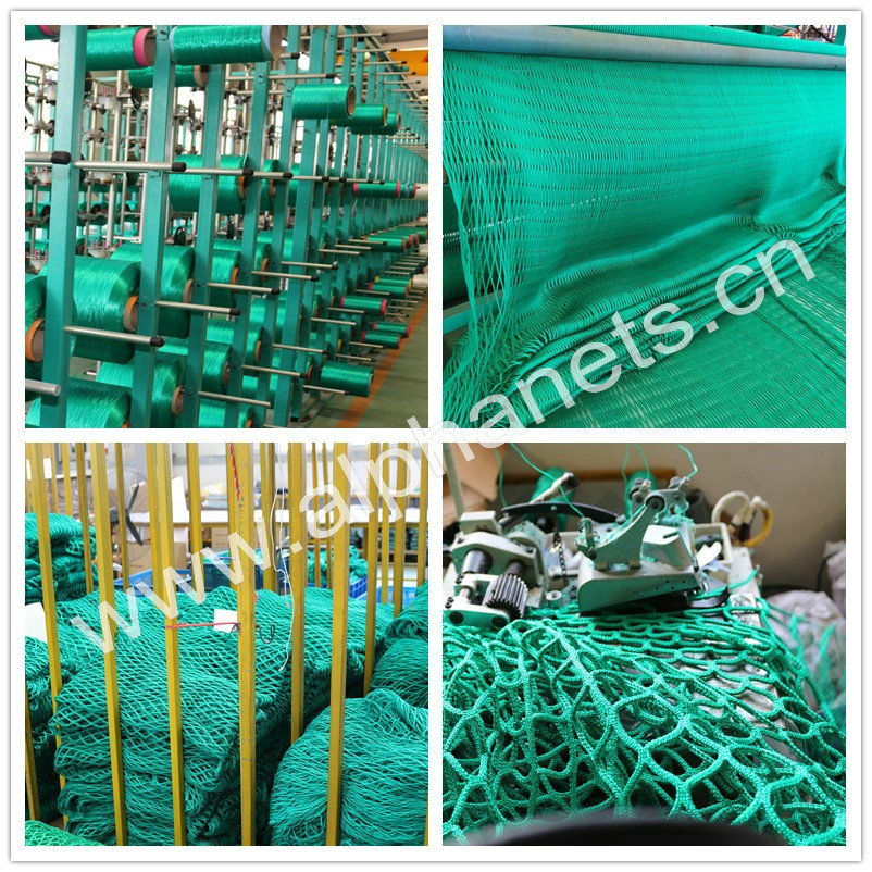 Knotless Green Trailer Nets in High Breaking Strength