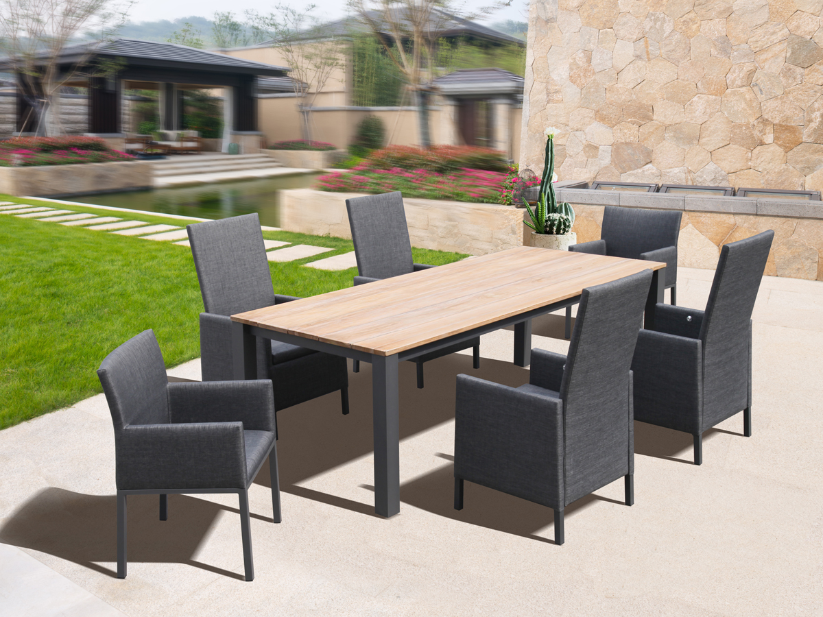 All Modern Aluminum Outdoor furniture  patio Dining Table  set with teak table top garden furniture outdoor