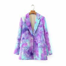 [DEAT] Женский блейзер большого размера с галстуком-краской, новая свободная куртка с отворотом и длинным рукавом, модная демисезонная куртка ...(Китай)