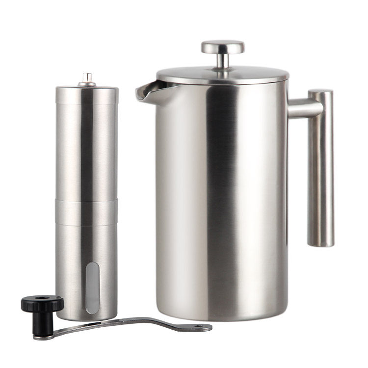 Highwin Pabrik 800 Ml Panas Dijual Double Dinding Cafetiere Expresso Stainless Steel Cokelat Kehitaman Teh French Press