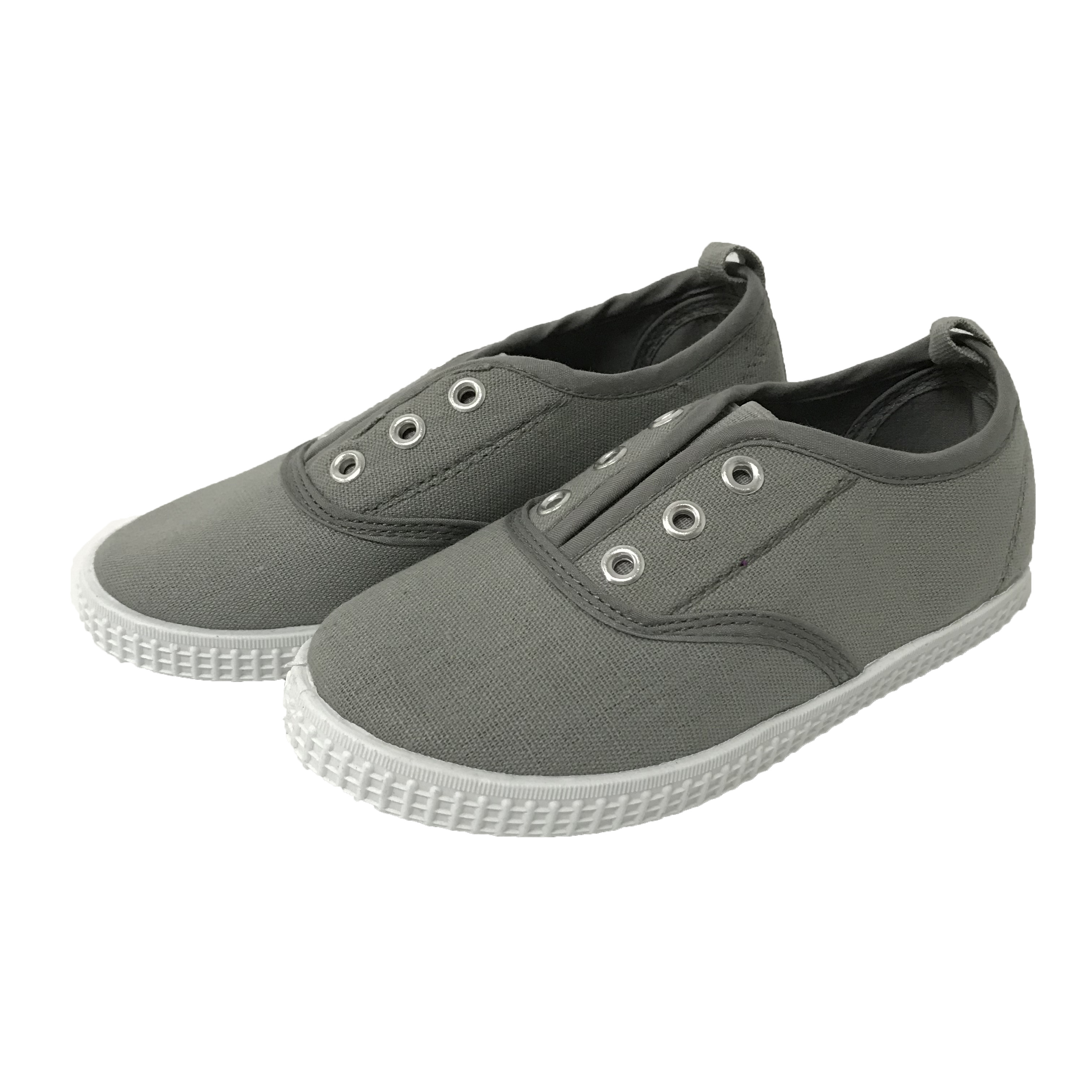 Grey laces comfortable children unisex canvas slip on PVC casual shoes sneakers