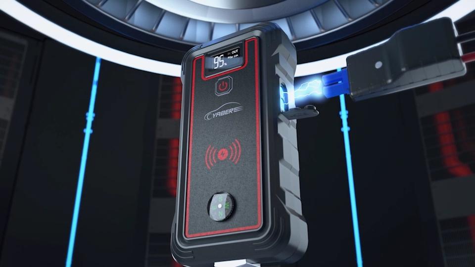 Yaber Démarreur de Saut De Batterie de Voiture, 23800mAh Booster de Batterie avec le Chargeur Sans Fil de Banque de Puissance de Démarreur de Saut De Voiture Multifonctions 12V