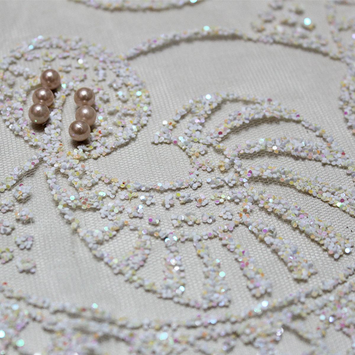 Wholesale Africa design beaded tulle glitter polyester fabric for wedding dress