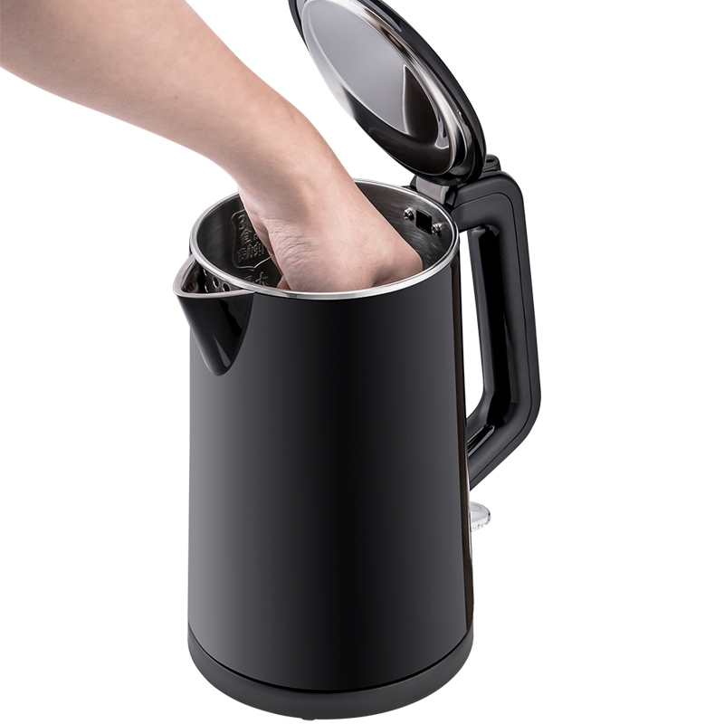 new 1.7L stainless  steel kettle double wall black fast boil cool touch tea kettle auto shut off electric kettle