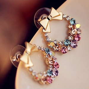 Wholesale version of the full diamond bow stud earrings retro exquisite flower earrings Korean popular earrings